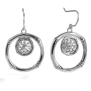 JOHN HARDY Bamboo Lava White Topaz EARRINGS